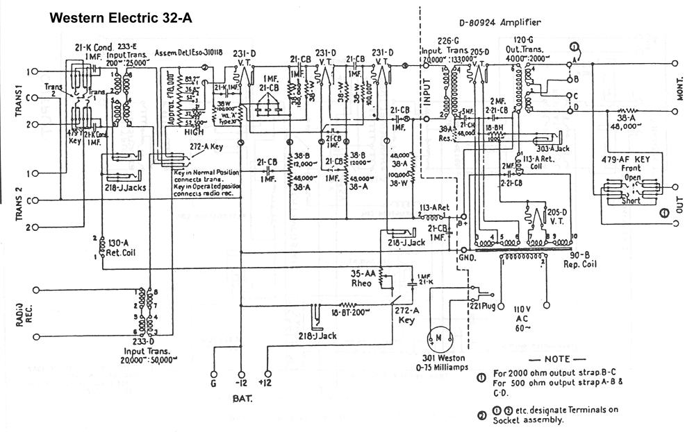 western electric rosetta stone for triodes click here for the complete western electric 32a schematic which appears to be a monitor amplifier for a radio station